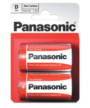 Batteries Panasonic R20R Battery - D - Card of 2