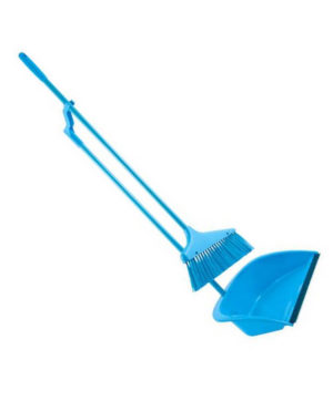 Long Handled Standing Dustpan & Brush (4 asstd cols) ZUK
