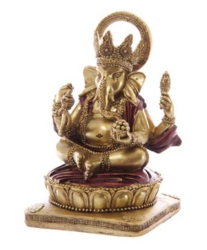 Ganesh Statue Gold and Red 14cm x 8cm x 8.5cm