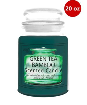 Jar Candle With Lid 20oz Green Tea Bamboo
