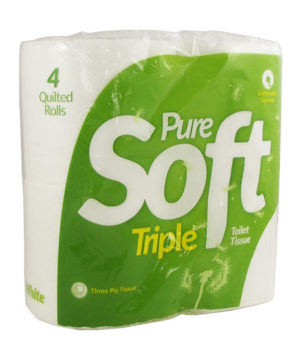 Toilet Roll Pure Soft 3 Ply White 4 Roll Pack
