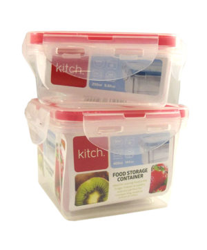 Square Click & Close Containers 2pk 250ml & 400ml