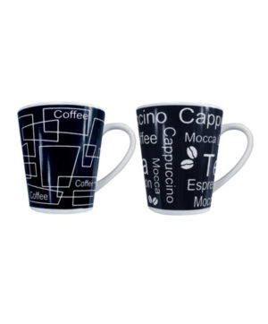 Mug Black & White Coffee Text Design