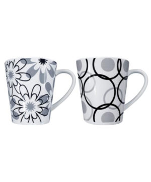 Mug Grey & Black Floral & Circles Design