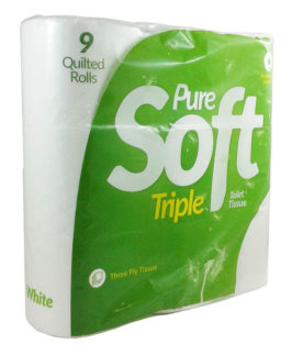 Toilet Roll 9 Roll Pack Pure Soft 3 Ply White