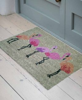 Door Mat Coir Flamingo Design 40x60cm 2 asstd